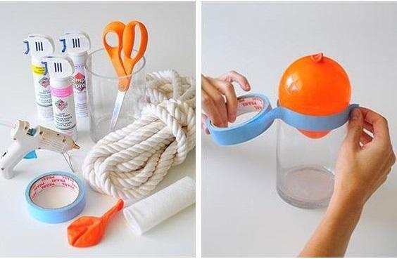 DIY: Beautiful Color-Blocked Rope Lampshade Tutorial