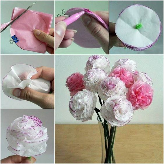 Rose Flower Beautiful Tissue Paper Craft Ideas