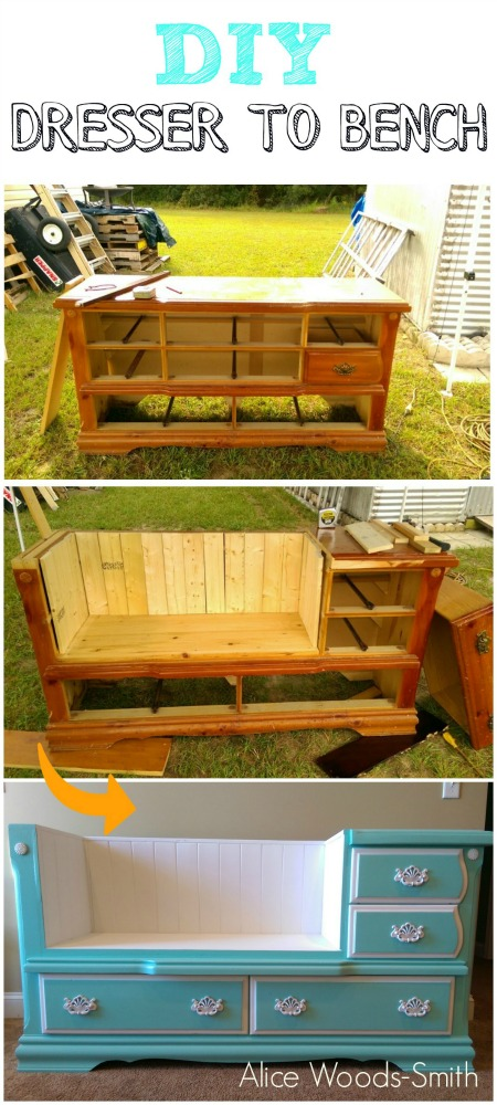 Dresser-to-bench Ways to Repurpose and Reuse Broken Household Items