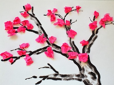 Red Flower Tree Beautiful Tissue Paper Craft Ideas