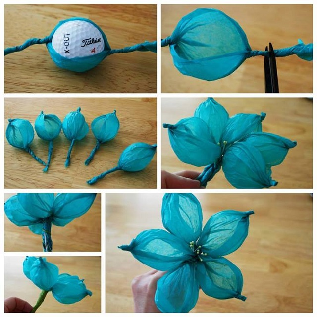 Blue Bubble Flower Beautiful Tissue Paper Craft Ideas