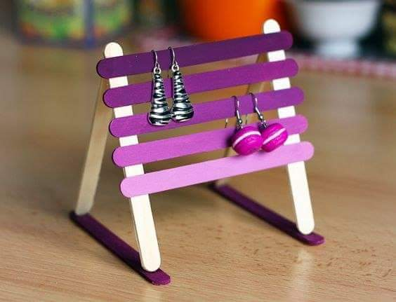 Popsicle StickEarring Stand Popsicle Stick Crafts Ideas for Adults