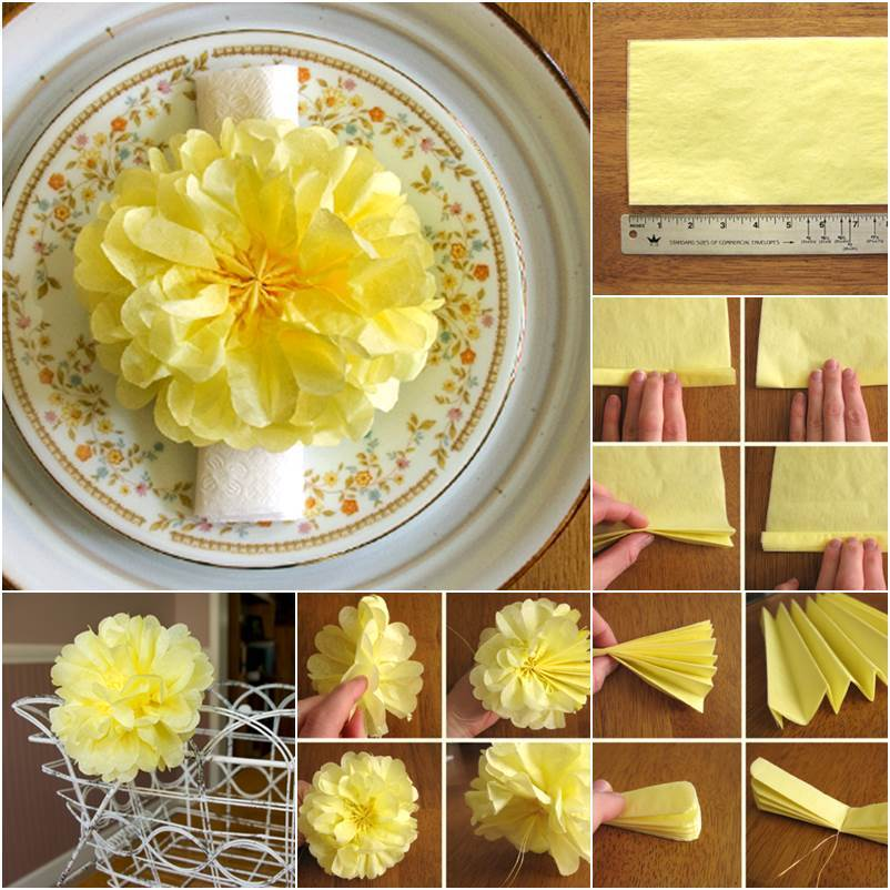 DIY Yellow Flower Beautiful Tissue Paper Craft Ideas