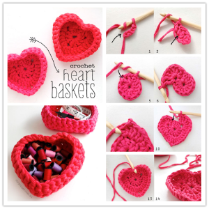Crochet Ideas:DIY heart shaped storage basket step by step tutorial Creative DIY Crochet Patterns For Beginners