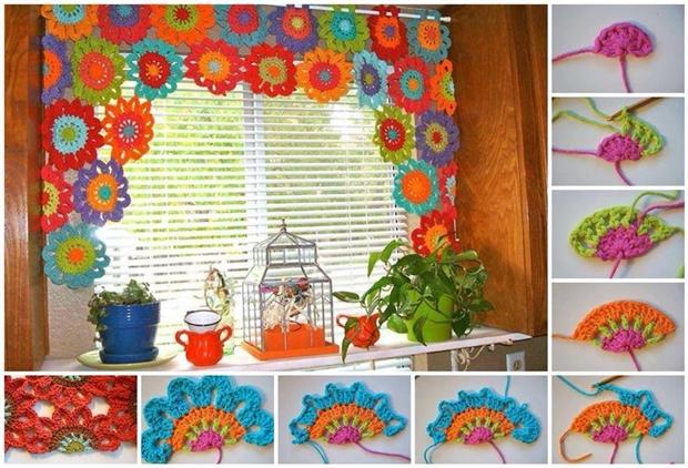 Crochet Ideas: DIYFlower Power Valance step by step tutorial Creative DIY Crochet Patterns For Beginners
