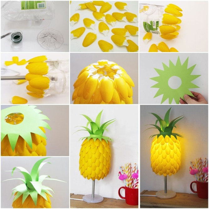 Plastic Spoon: DIY Pineapple Lamp Creative Plastic Spoon Craft Ideas