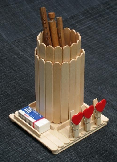 Popsicle Stick Pen Holder Popsicle Stick Crafts Ideas for Adults