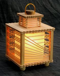 Popsicle StickGolden Light Lamp Popsicle Stick Crafts Ideas for Adults
