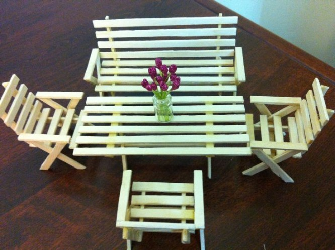Popsicle Stick Table & Chairs for Toy House Popsicle Stick Crafts Ideas for Adults