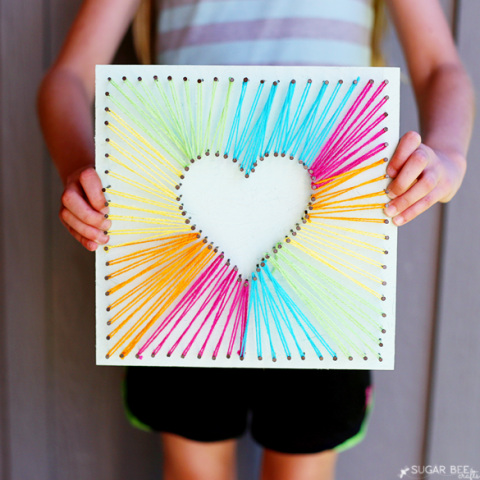 Heart String Art - Mother's Day Mother's Day Crafts Ideas That She'll Treasure