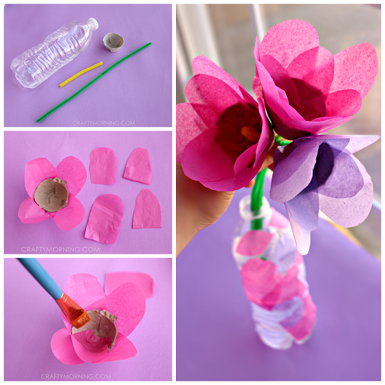 Recycled Flowers with Pot Beautiful Tissue Paper Craft Ideas