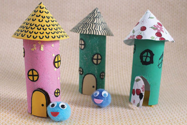 Pom Pom Pets: Toilet Paper Roll Houses Creative DIY Toilet Paper Roll Craft Ideas