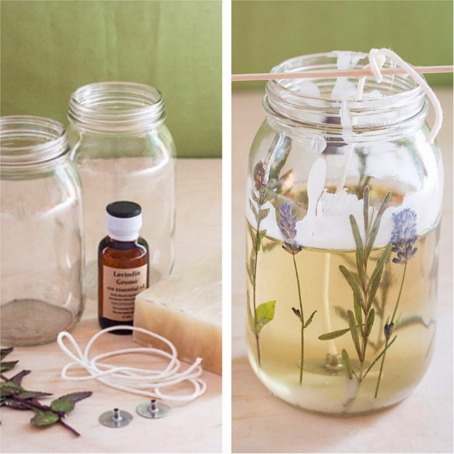Pressed herb candles DIY Candle Decoration Ideas for Festivals, Birthdays and Celebrations