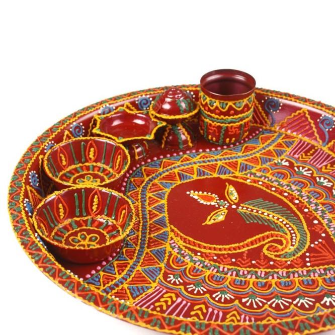 Indie handicrafts pooja thali Thali Decoration Ideas During Navratri