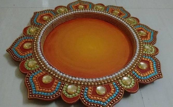 Ornate pooja thali design Thali Decoration Ideas During Navratri
