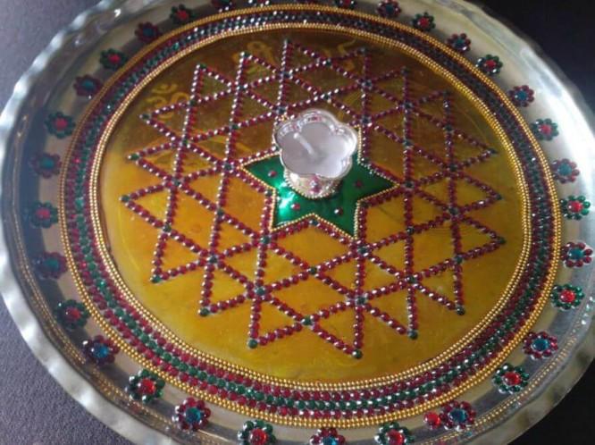 Beautiful glass paint thali design Thali Decoration Ideas During Navratri