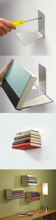 use-bookends-as-floating-bookshelves Learn to Make Invisible Bookshelves