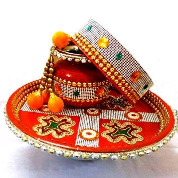 Golden bead design pooja thali and kalash combo Thali Decoration Ideas During Navratri