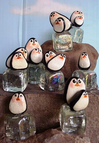 Ice Age Penguins painted on stones Decorative Stones Decorative Stones & Gravel, Paint Craft Ideas