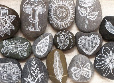Beautifully doodled Decorative Stones Decorative Stones & Gravel, Paint Craft Ideas
