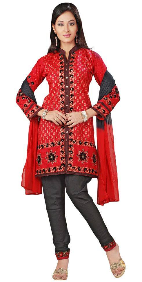 Red & Cream Net Anarkali Salwar Kameez Salwar Kameez Suits: Traditional Dresses for Indian & Pakistani Women to Look Awesome