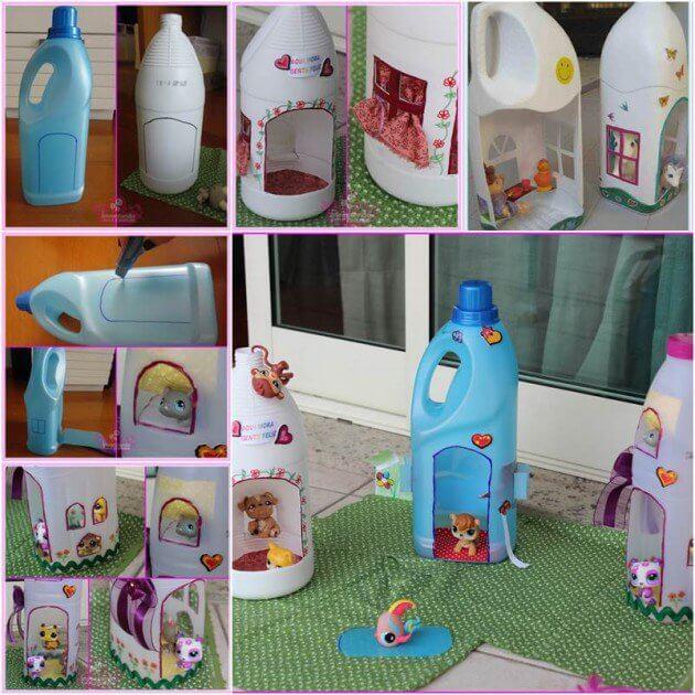 Make Doll House for Kids From Plastic Bottles How to make things from plastic bottles