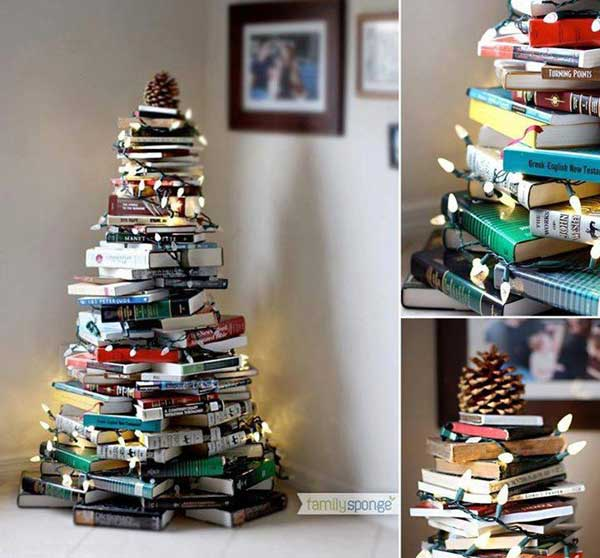 Christmas Book Tree Easy and Affordable Christmas Decorations Ideas