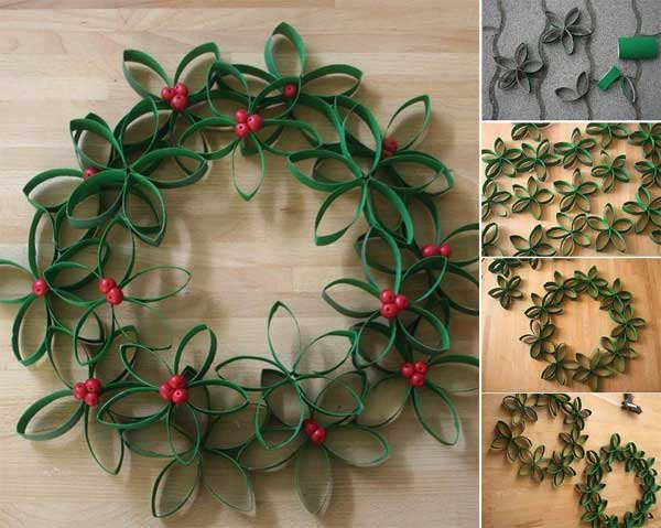 Green Flower Wreath Easy and Affordable Christmas Decorations Ideas