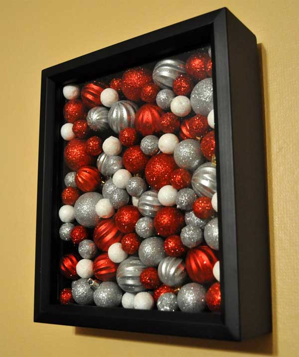 Ornaments in a shadowbox Easy and Affordable Christmas Decorations Ideas