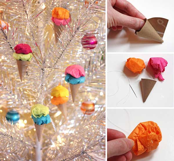 Easy paper ice cream ornaments Easy and Affordable Christmas Decorations Ideas