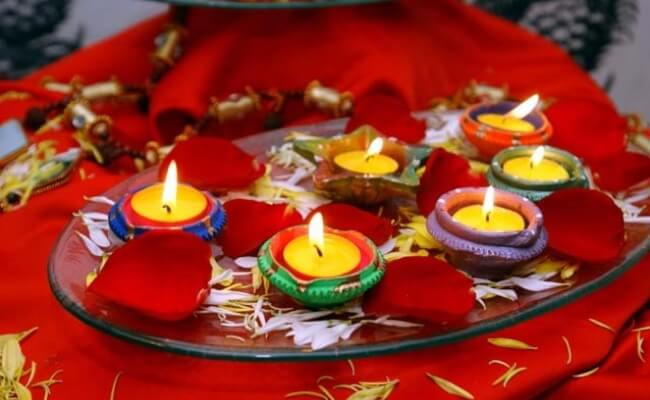 Diya Decoration in Thali