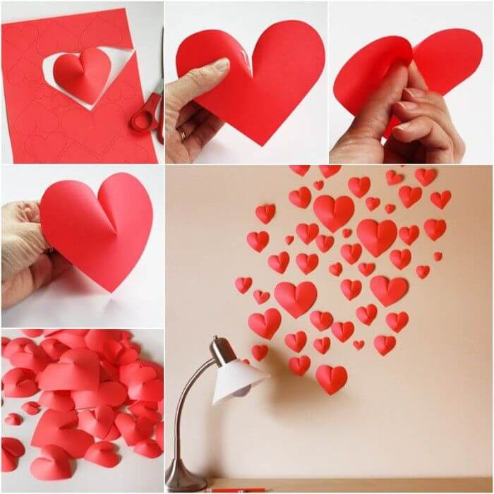 How-to-DIY-Creative-Paper-Hearts-Wall-Decor DIY Wall Hanging Ideas to Decorate Your Home