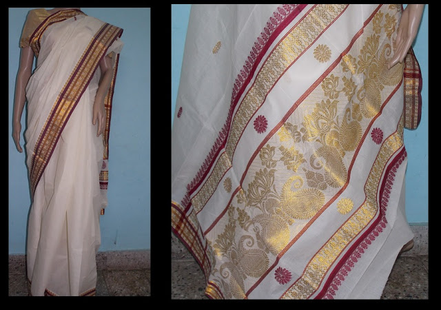 Kerala Kasavu saree with colored threads and motifs Kasavu sarees of Kerala, Each Woman of Kerala have at least one