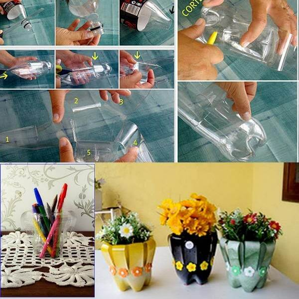 Flower Pot for Your Table Using Waste Plastic Bottle How to make things from plastic bottles