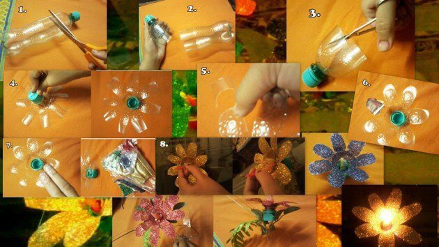 Flower with Lights from Plastic Bottles for Decoration at Diwali How to make things from plastic bottles