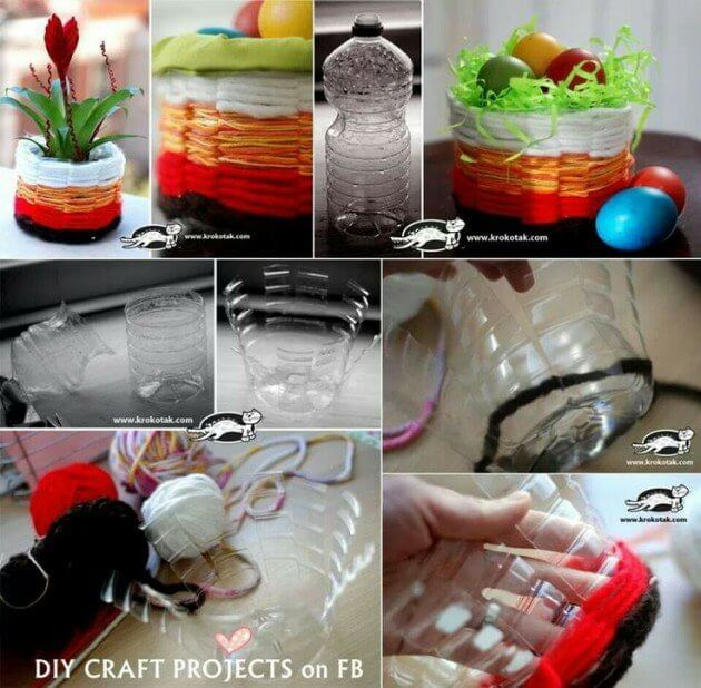 Small Baskets From Wool and Plastic Bottle How to make things from plastic bottles