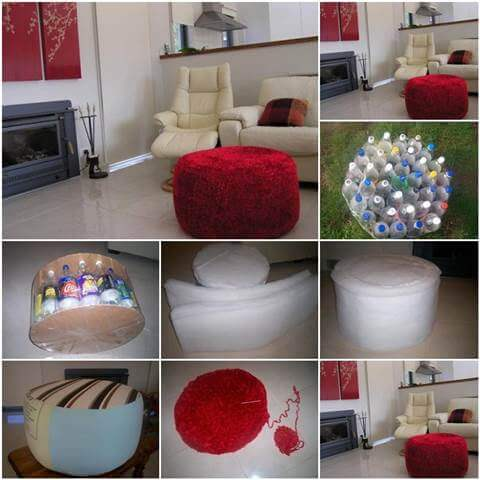 small-ottoman-in-high-end-decor-realized-from-plastic-bottles Lite Ottoman From Plastic Bottles How to make things from plastic bottles