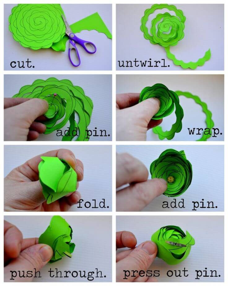 Cute green round flower Easy Flower Making Step by Step Tutorials