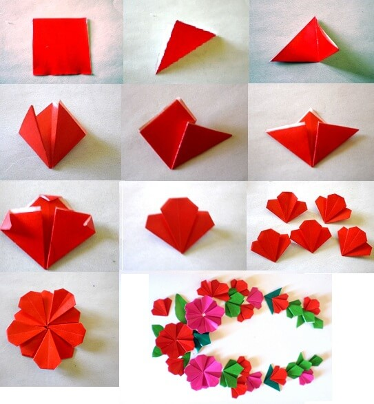 Origami flower making step by step tutorial Easy Flower Making Step by Step Tutorials