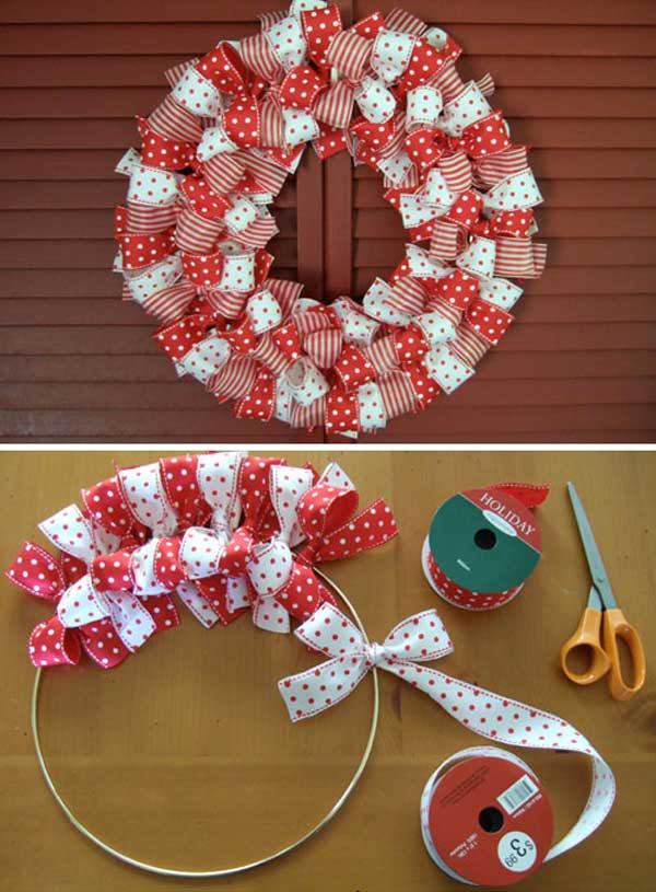 Ribbon Wreath for Christmas Easy and Affordable Christmas Decorations Ideas