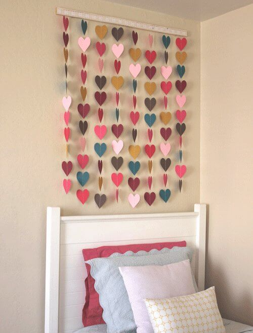 heart-paper-wall-hanging DIY Wall Hanging Ideas to Decorate Your Home