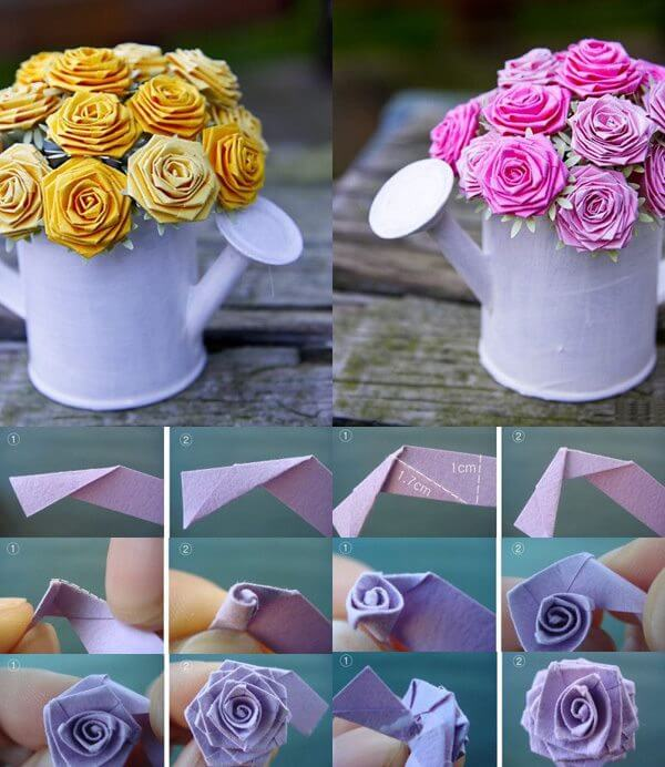 Origami Steps To Make A Rose | Easy origami rose, Origami rose box ... | 692x600