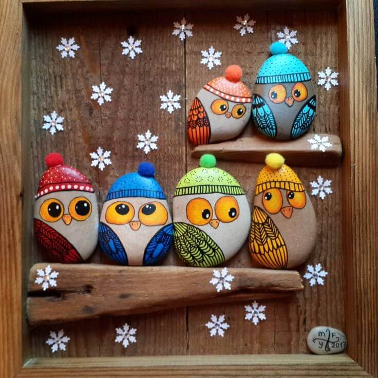 Snow season owls Decorative Stones