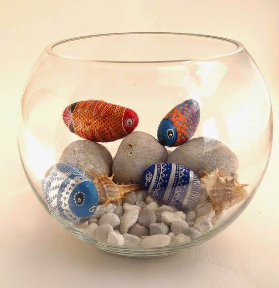 Beautifully painted fish Decorative Stones Decorative Stones & Gravel, Paint Craft Ideas
