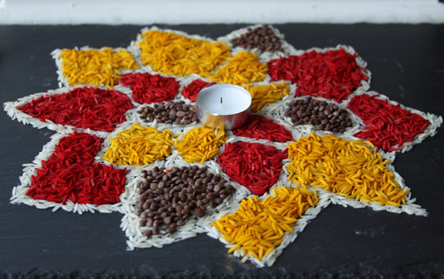 rice rangoli Diwali Ideas for Home Decoration – Cards, Crafts & Home Decor
