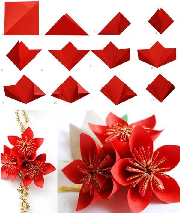 How to make an easy origami flower - YouTube | 709x600
