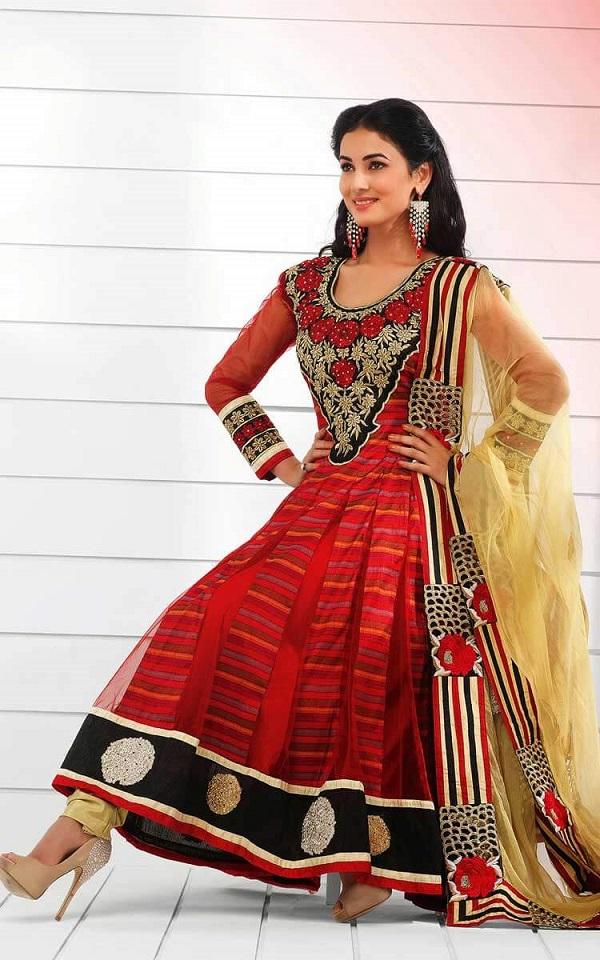 Red & Cream Net Anarkali Salwar Kameez
