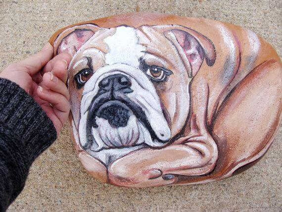 Beautifully painted dog on a Stone Decorative Stones & Gravel, Paint Craft Ideas
