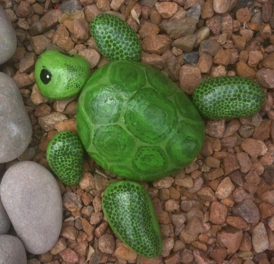 Tortoise as a decorative stone Decorative Stones & Gravel, Paint Craft Ideas