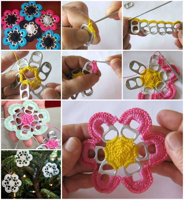 Best Out of Waste : Crochet Flower Pattern from Soda Can Pulls Step by Step Crochet Patterns Tutorials